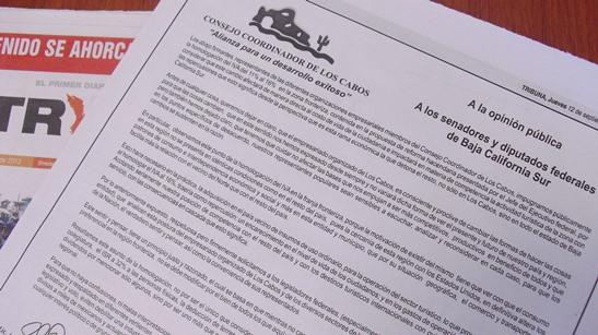 Signan miembros del Consejo Coordinador de Los Cabos documento público de rechazo.